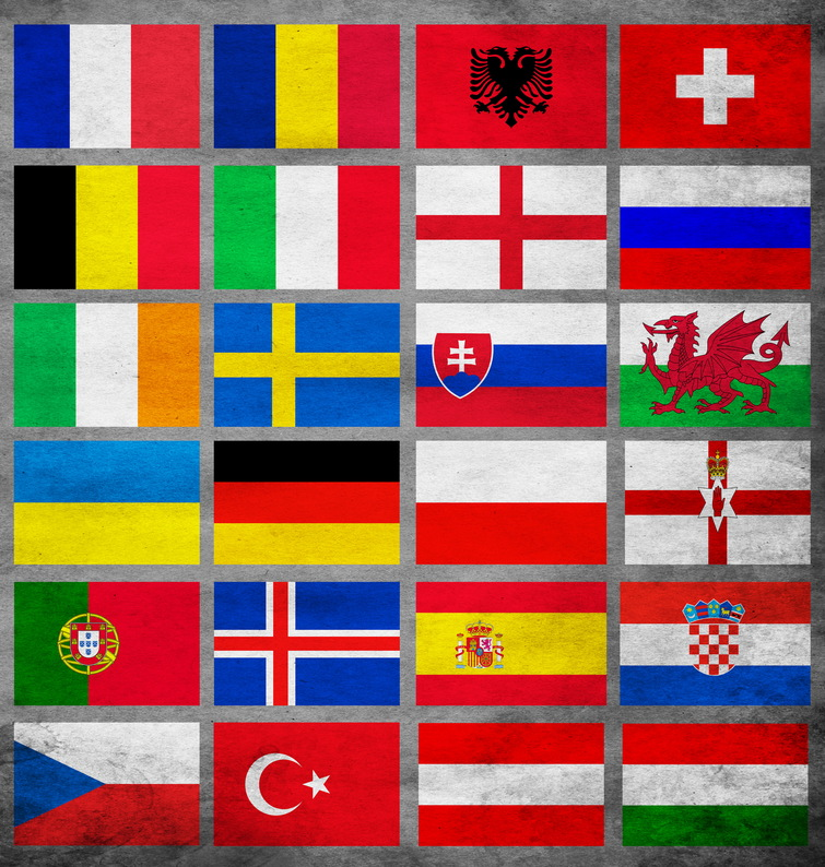 set of euro 2016 teams flags